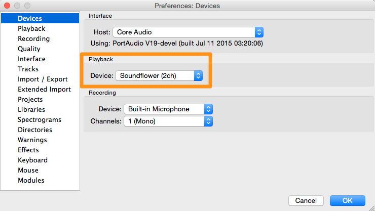Transcribe .mp3 audio: Audacity Preferences Dictation