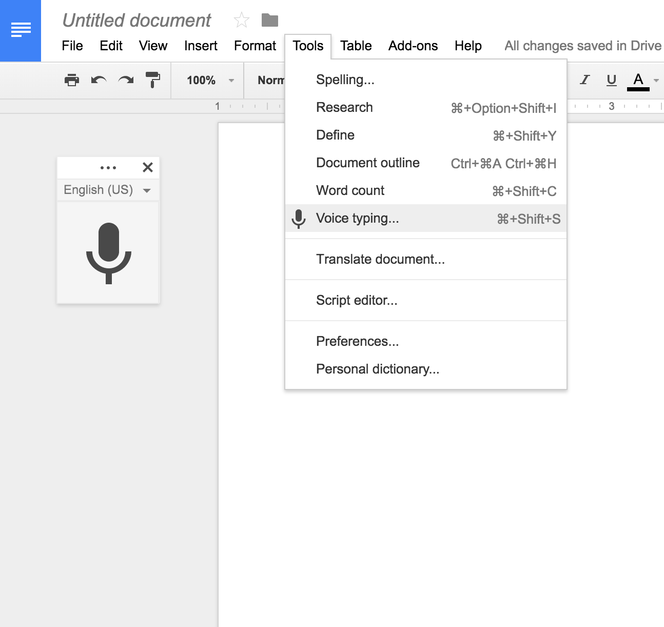 Transcribe Audio with Google Voice Typing